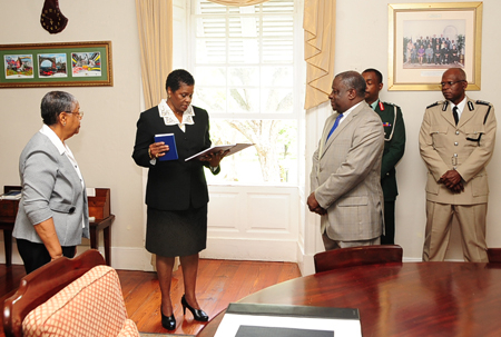 Justice Sandra Mason sworn in back in 2012 to be Acting Governor General. (Internet image)