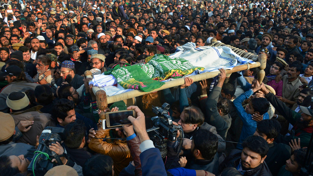 People attend a funeral of a Pakistani girl who was raped and killed, in Kasur, Pakistan, Wednesday, Jan. 10, 2018. (AP Photo/Qazi Mehmood)