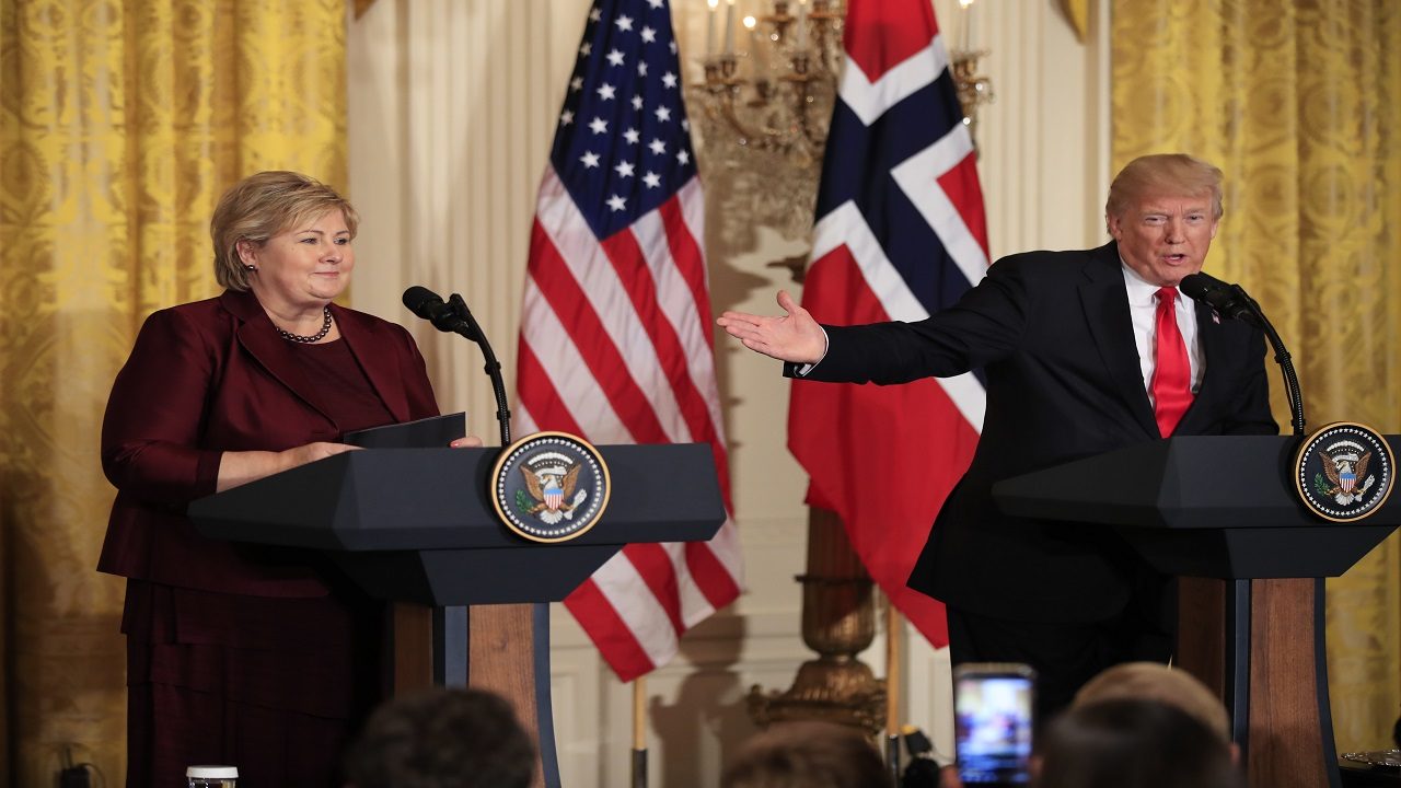 In this Wednesday, January 10, 2018 AP file photo, US President Donald Trump speaks during a joint news conference with Norwegian Prime Minister Erna Solberg in the East Room of the White House in Washington.