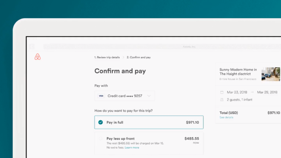Airbnb now gives you the option to pay less up front
