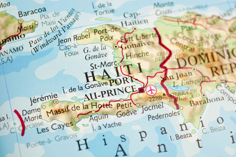 Carte géographique d'Haiti et de la République Dominicaine.