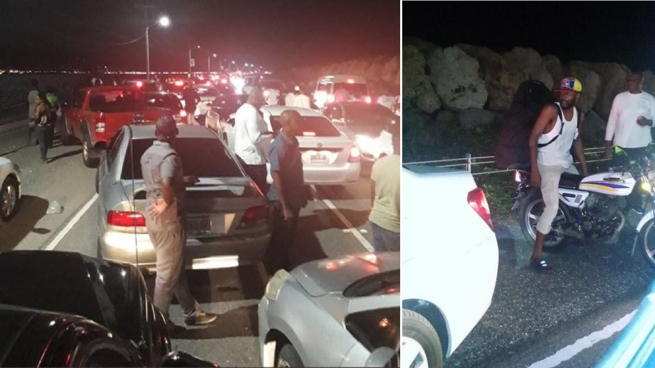 Pictures circulating on social media of the traffic pile-up along the Palisadoes strip on New Year's Day.