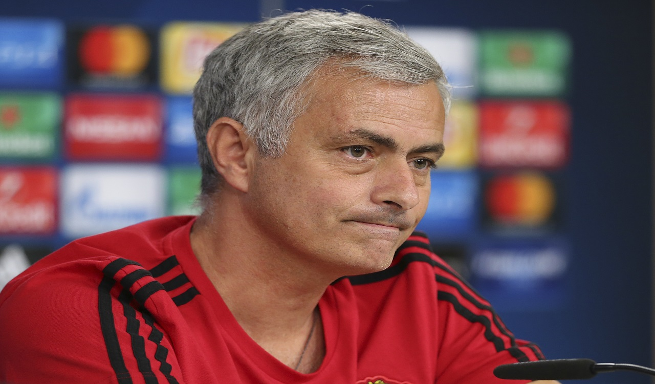 Manchester United coach Jose Mourinho listens to questions during a news conference at Benfica's Luz stadium in Lisbon, Tuesday, Oct. 17, 2017.