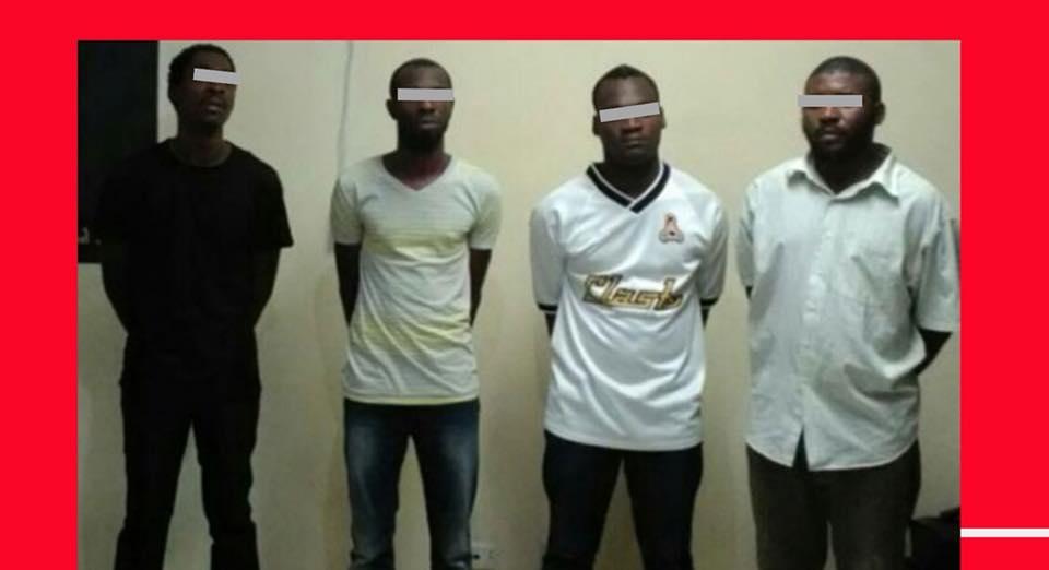 Les présumés bandits impliqués dans l'assassinat du père Joseph Simoly présentés par la PNH. Photo: Facebook/Police Nationale d'Haiti - PNH