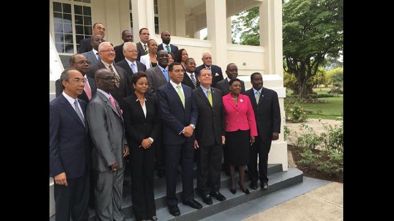 Members of the Andrew Holness-led Cabinet of Jamaica along with a few other members of the political executive.