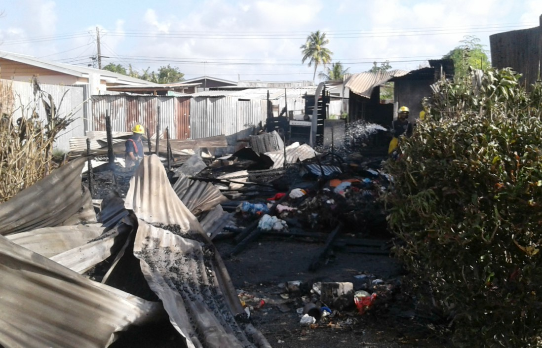 The home occupied by Kimberley Hunte and her three children which was destroyed by a fire.