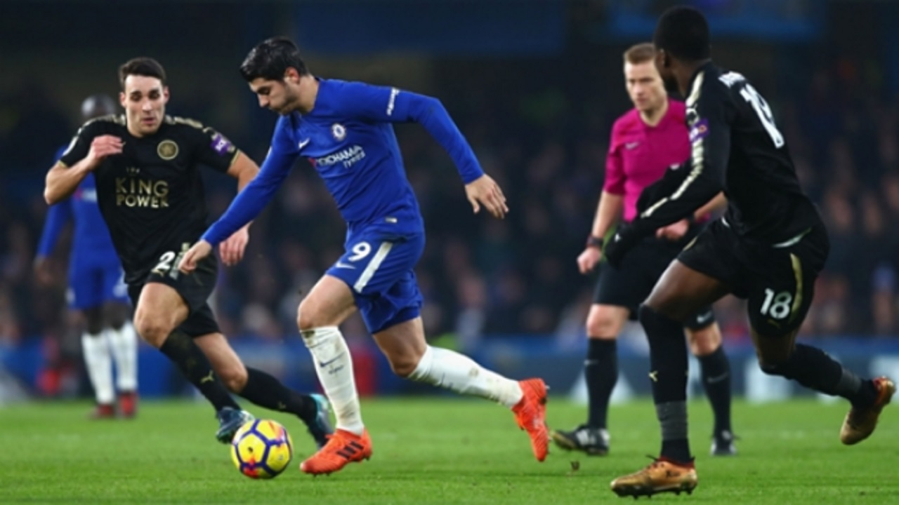 Alvaro Morata in action for Chelsea against Leicester City.