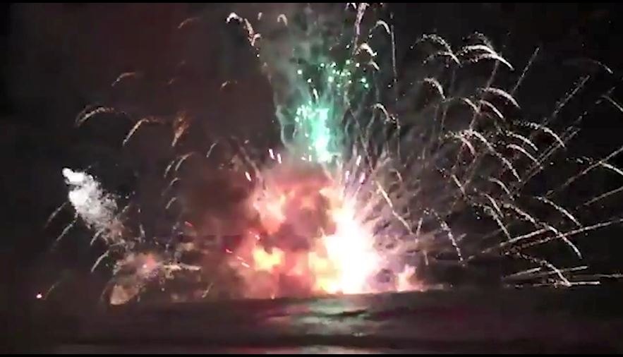 Thousands flee screaming as fireworks barge EXPLODES out-of-control in NYE