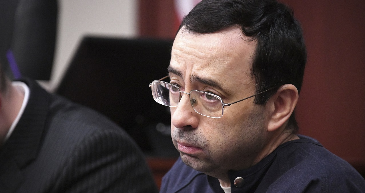 (Image: AP: Larry Nassar, pictured in court on 23 January 2018)
