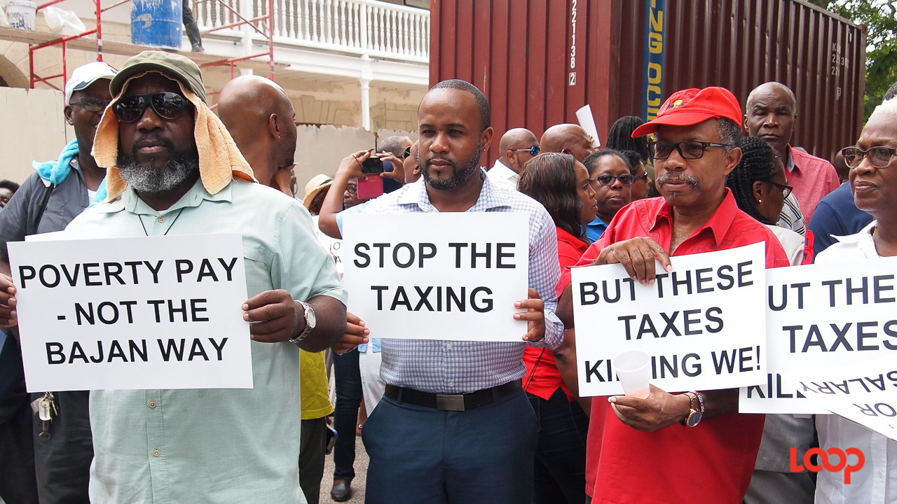 (File Photo) Public sector workers engaging in protest action against tax measures.