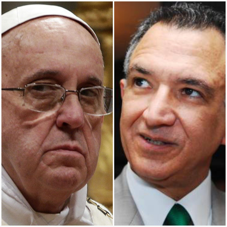 Collage : Le pape François 1er et l'ambassadeur dominicain au Vatican Victor Grimaldi.