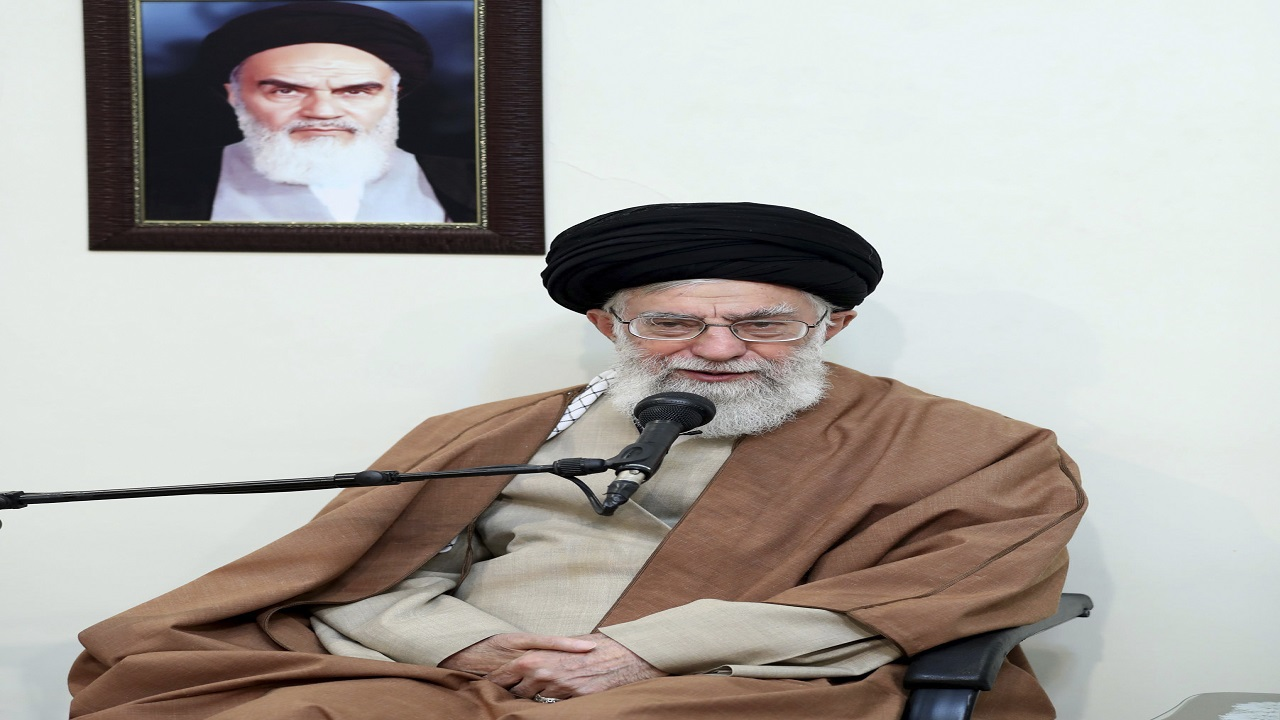 n this picture released by official website of the office of the Iranian supreme leader, Supreme Leader Ayatollah Ali Khamenei speaks in a meeting as he sits under a portrait of the late Iranian revolutionary founder Ayatollah Khomeini, in Tehran, Iran, Tuesday, Jan. 2, 2018.