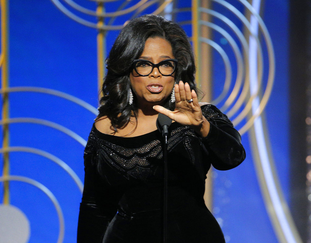 This image released by NBC shows Oprah Winfrey accepting the Cecil B. DeMille Award at the 75th Annual Golden Globe Awards in Beverly Hills, California. (Paul Drinkwater/NBC via AP)