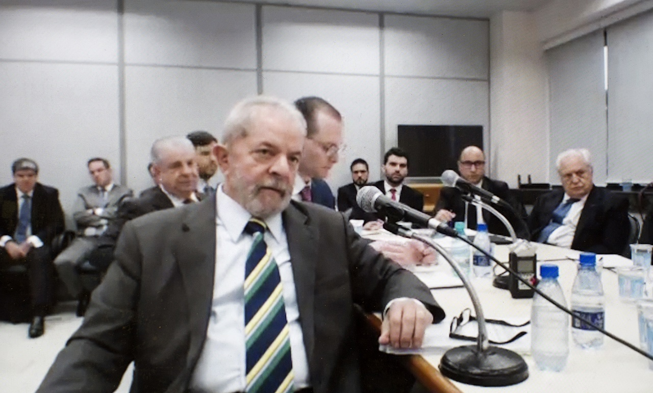 This screen grab of a video recorded on May 10, 2017, released by the Parana Federal Justice department, shows Brazil's former President Luiz Inacio Lula da Silva testifying in the Car Wash investigation in Curitiba, Brazil.