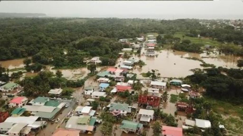 Still from drone footage shot on Sunday 31 December by Kryon James, Councillor, Mayaro Rio Claro Regional Corporation.