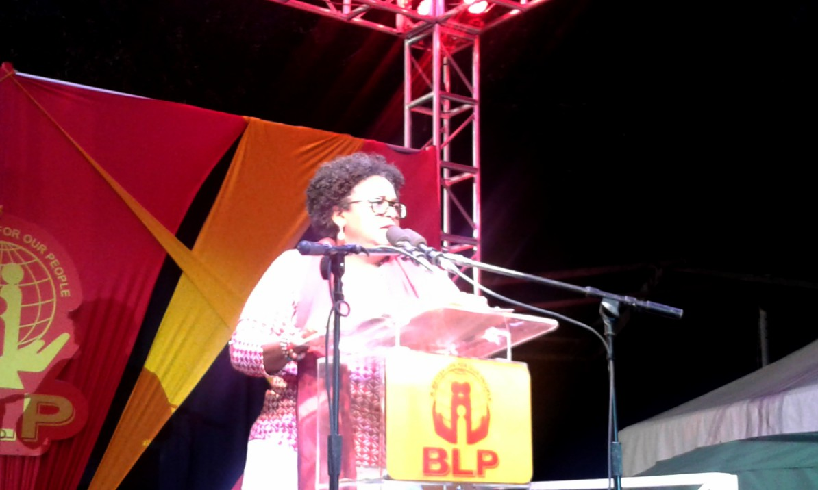 Opposition Leader, Mia Mottley speaking at a political meeting in Worthing Ch Ch.