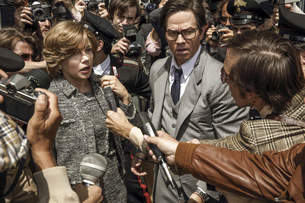 "This image released by Sony Pictures shows Michelle Williams, left, and Mark Wahlberg in TriStar Pictures' ""All The Money in the World."" (Fabio Lovino/Sony-TriStar Pictures via AP)"