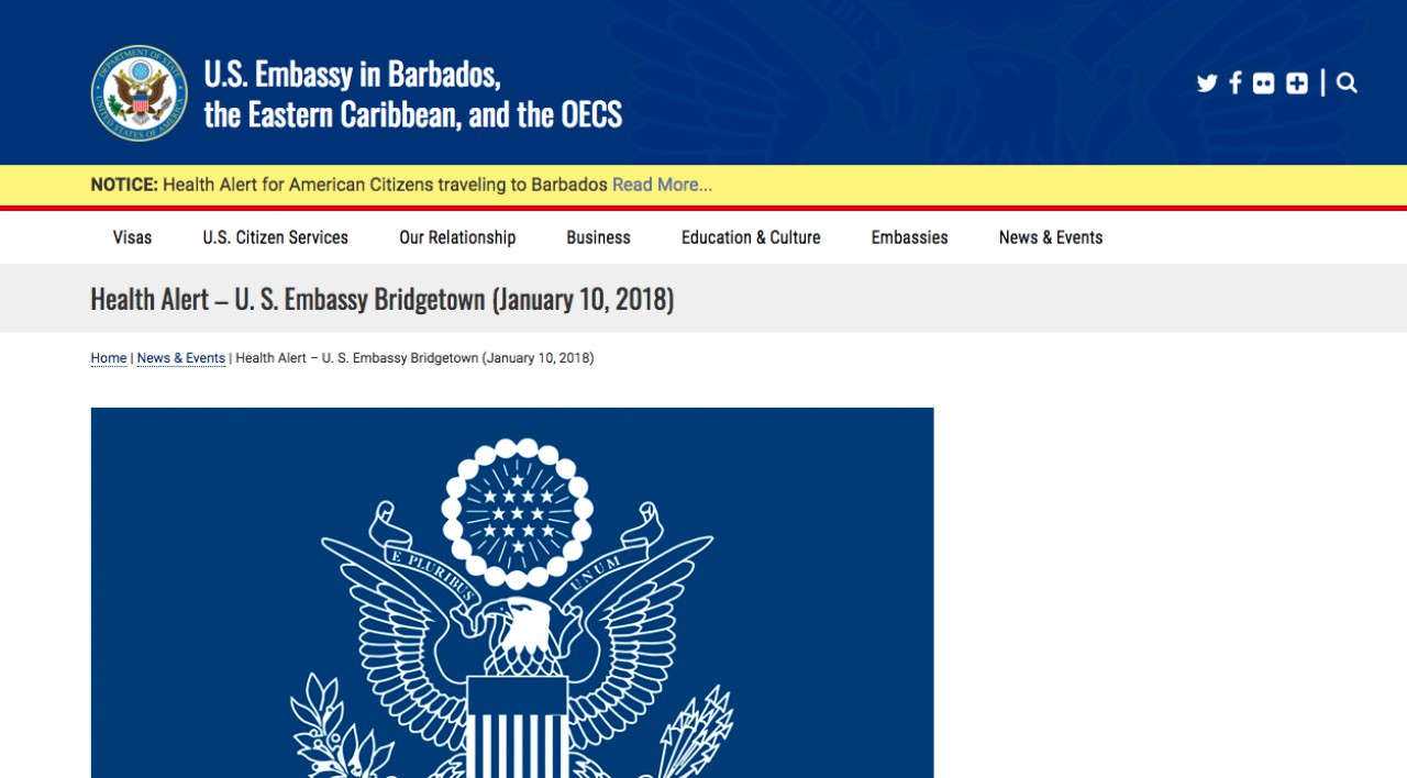 Notice issued to the Embassy's website
