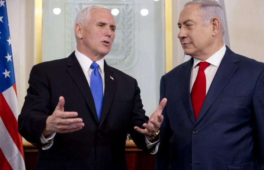 U.S. Vice President Mike Pence, right, and Israel's Prime Minister Benjamin Netanyahu.