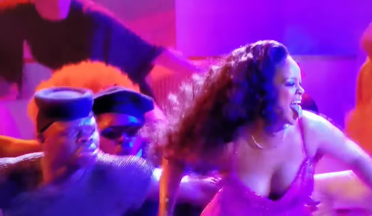 Rihanna caught with her tongue out during the performance of Wild Thoughts at the 2018 Grammys in New York City.