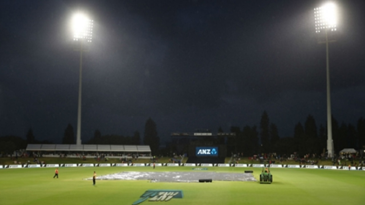 The Bay Oval, where rain stopped play in the second T20 between New Zealand and West Indies