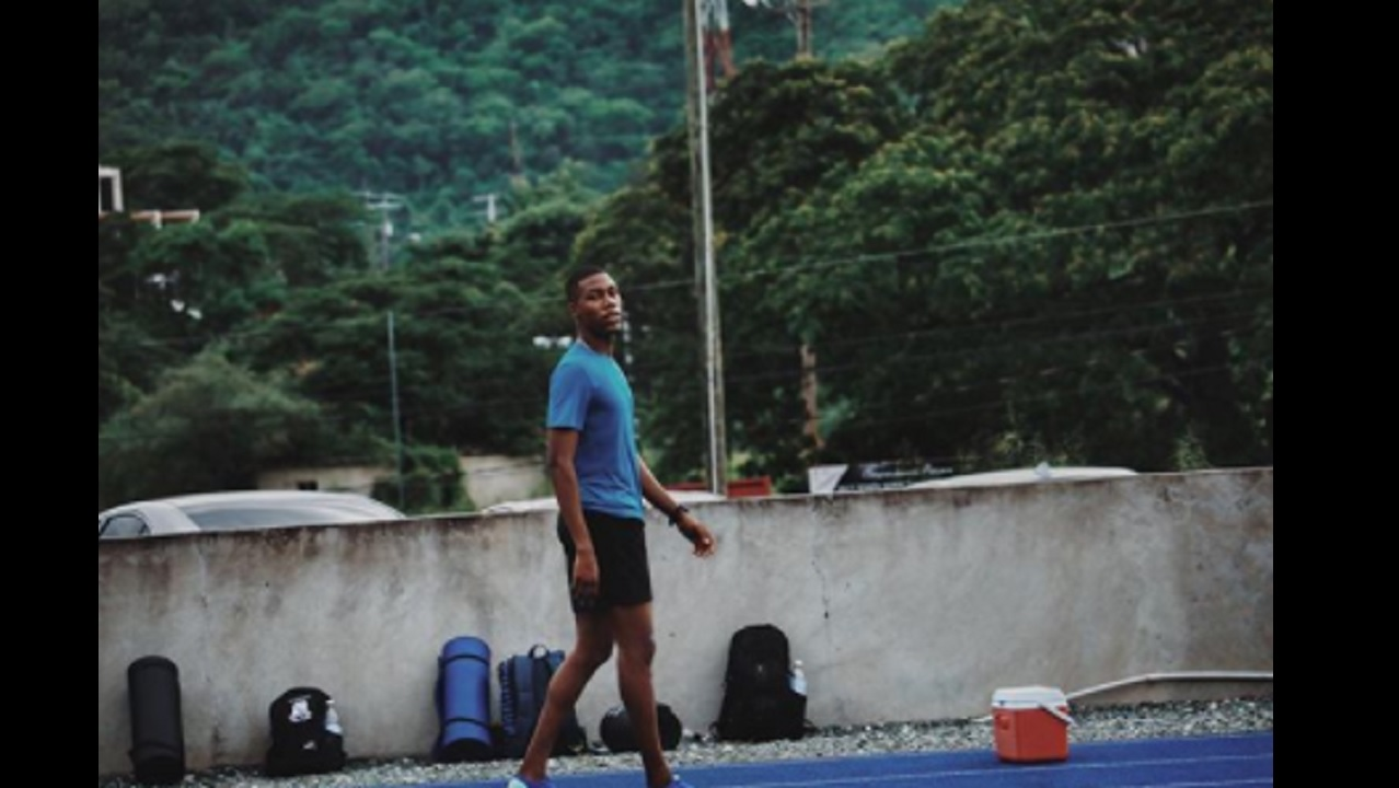 Zharnel Hughes during training at the Usain Bolt track at the University of the West Indies in Mona. (PHOTO: Instagram)