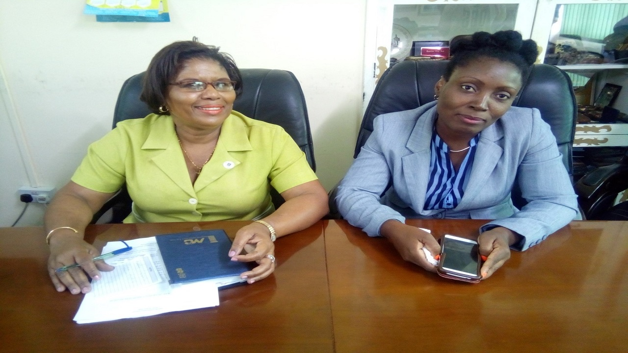 Castries Constituency Council's Market Manager, Gemma Thomas (left) and Operations/Special Initiatives Manager, Mavista Edward Operations/Special Initiatives Manager