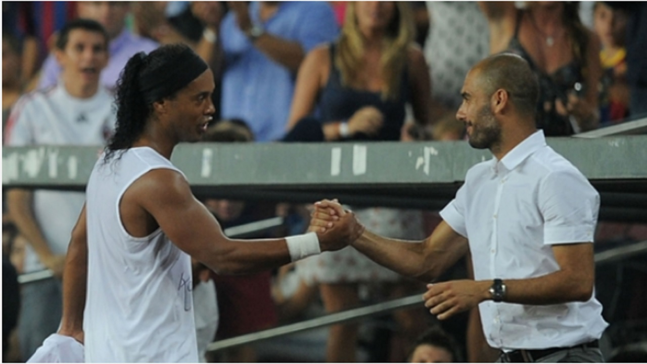 Ronaldinho (left) and Pep Guardiola.