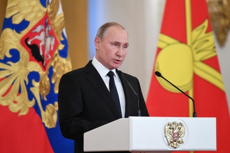 Le président russe Vladimir Poutine, le 28 décembre 2017 au Kremlin, à Moscou. POOL/AFP / Kirill KUDRYAVTSEV
