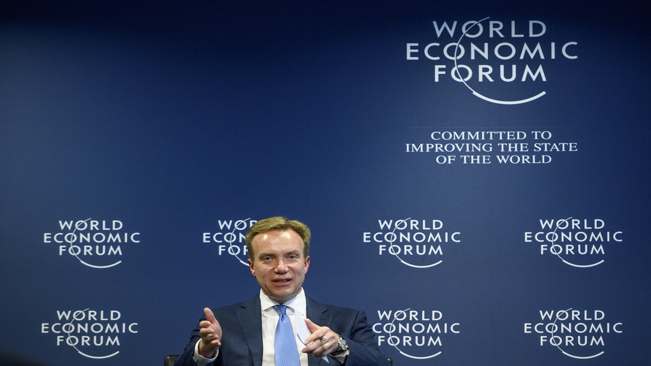 Norwegian Borge Brende President, Member of the Managing Board of the World Economic Forum, WEF, gestures during a press conference, in Cologny near Geneva on Tuesday.