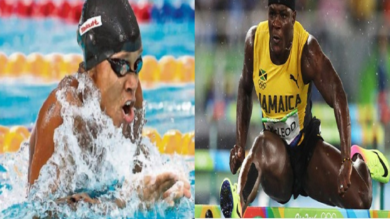 Swimming sensation Alia Atkinson (left) and sprint hurdler Omar McLeod.