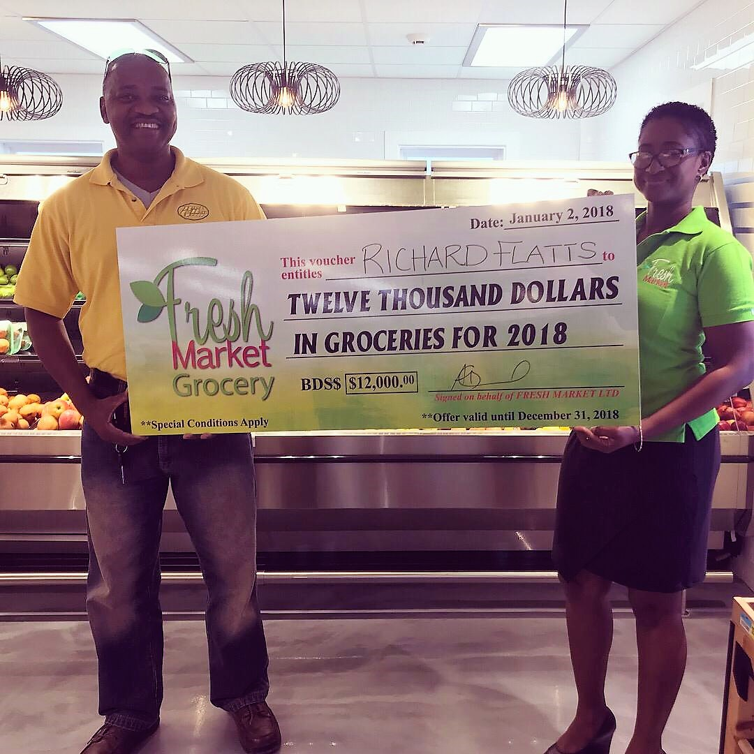 Richard Flatt won $12, 000 in free groceries from Fresh Market Grocery.