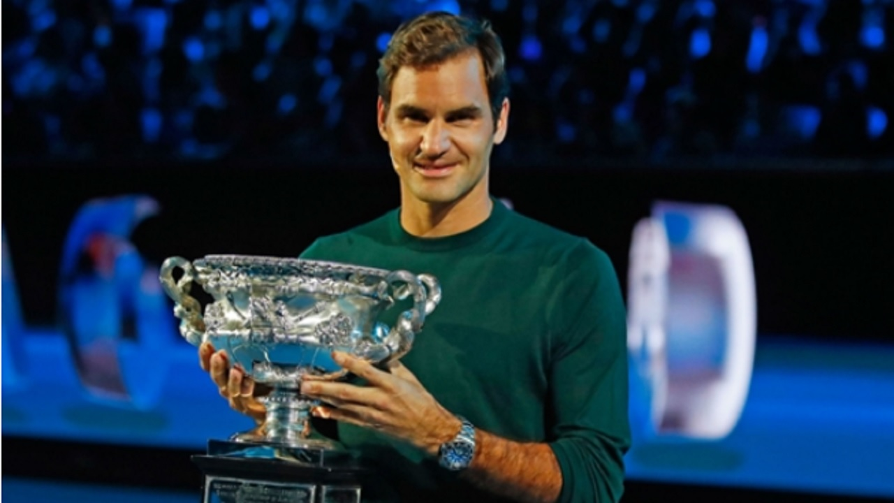 Roger Federer at the draw for the Australian Open.