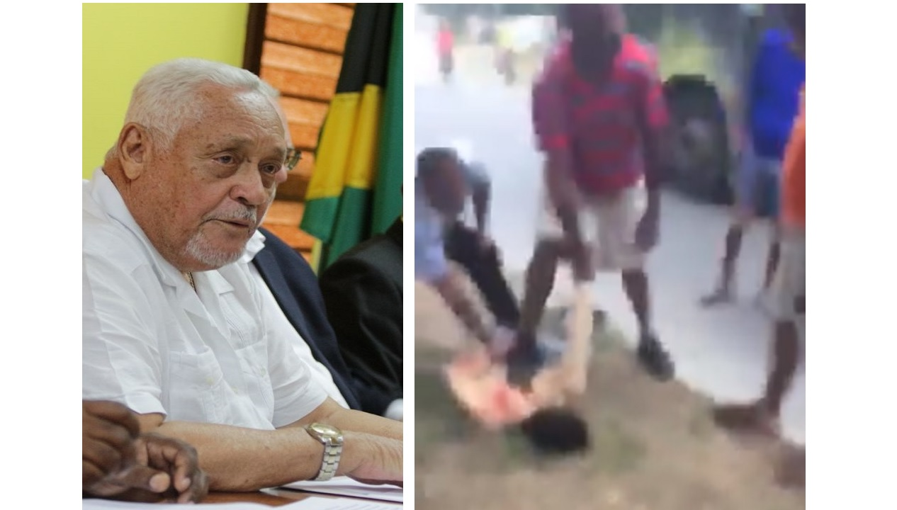 Transport and Mining Minister, Mike Henry, at left (file photo), while at right is a screenshot from a video showing the 'treatment' being meted out to the alleged gunman after he was reportedly disarmed on a JUTC bus.