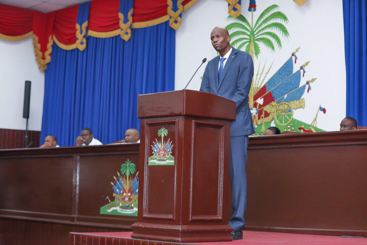 Le président Jovenel Moïse a présenté son discours sur l'Etat de la Nation hier lundi 8 janvier 2018 à l'occasion de l'ouverture de l'année législative 2018. Photo : Twitter/ Président Jovenel Moïse