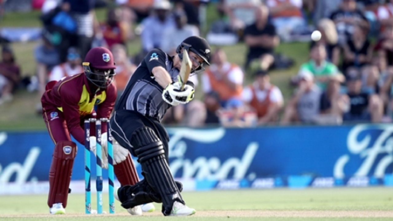 New Zealand opener Colin Munro on the go against West Indies in the third and final T20I in Tauranga on Wednesday.