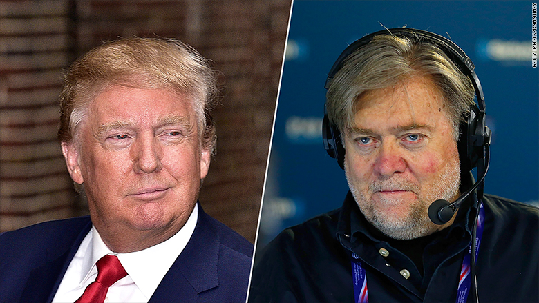 Donald Trump, president des Etats-Unis et son ancien conseiller Steve Bannon