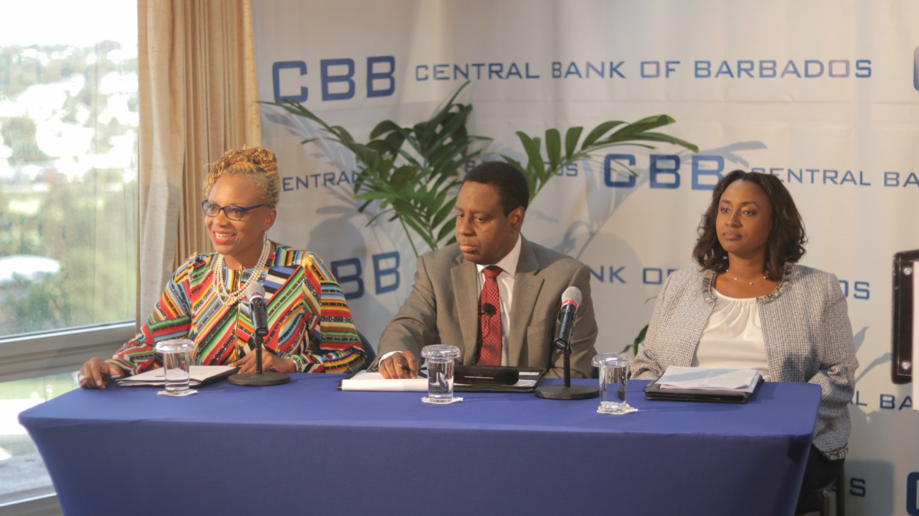 (L-R) Public Relations Officer of the Central Bank of Barbados (CBB), Novaline Brewster; Governor of the CBB, Cleviston Haynes and Deputy Governor of the CBB, Michelle Doyle-Lowe.