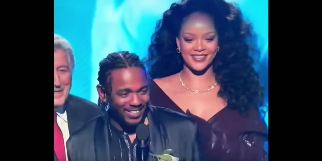 Kendrick Lamar and Rihanna accepting the Grammy for Best Rap/Sung Performance.
