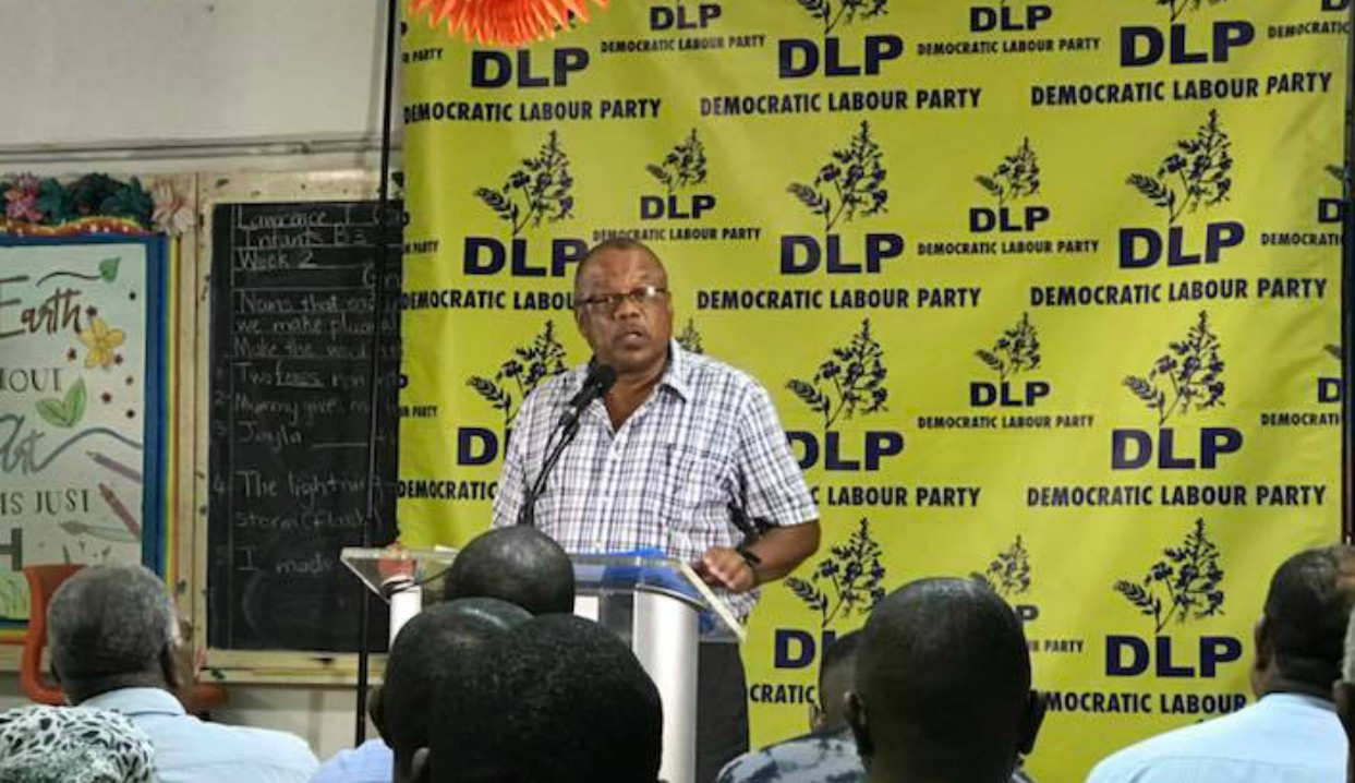 Minister of Health, John Boyce speaking to party supporters at a Democratic Labour Party (DLP) meeting.