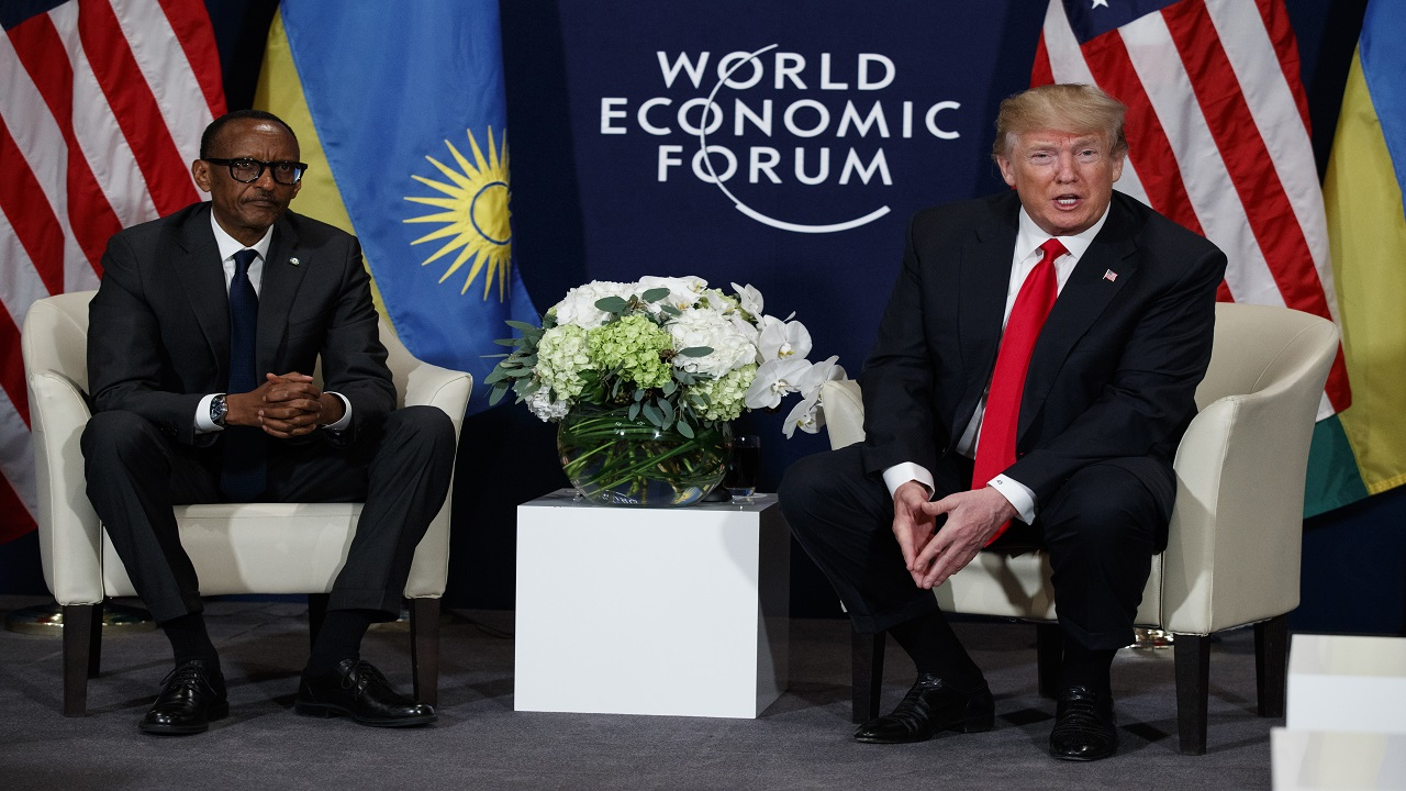 US President Donald Trump meets with Rwandan President Paul Kagame, left, at the World Economic Forum, Friday, in Davos, Switzerland. (AP Photo/Evan Vucci)