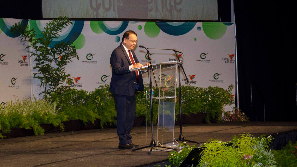 Energy and Energy Industries Minister Franklin Khan delivers the feature address at the opening of the Trinidad and Tobago Energy Conference 2018 on Monday.