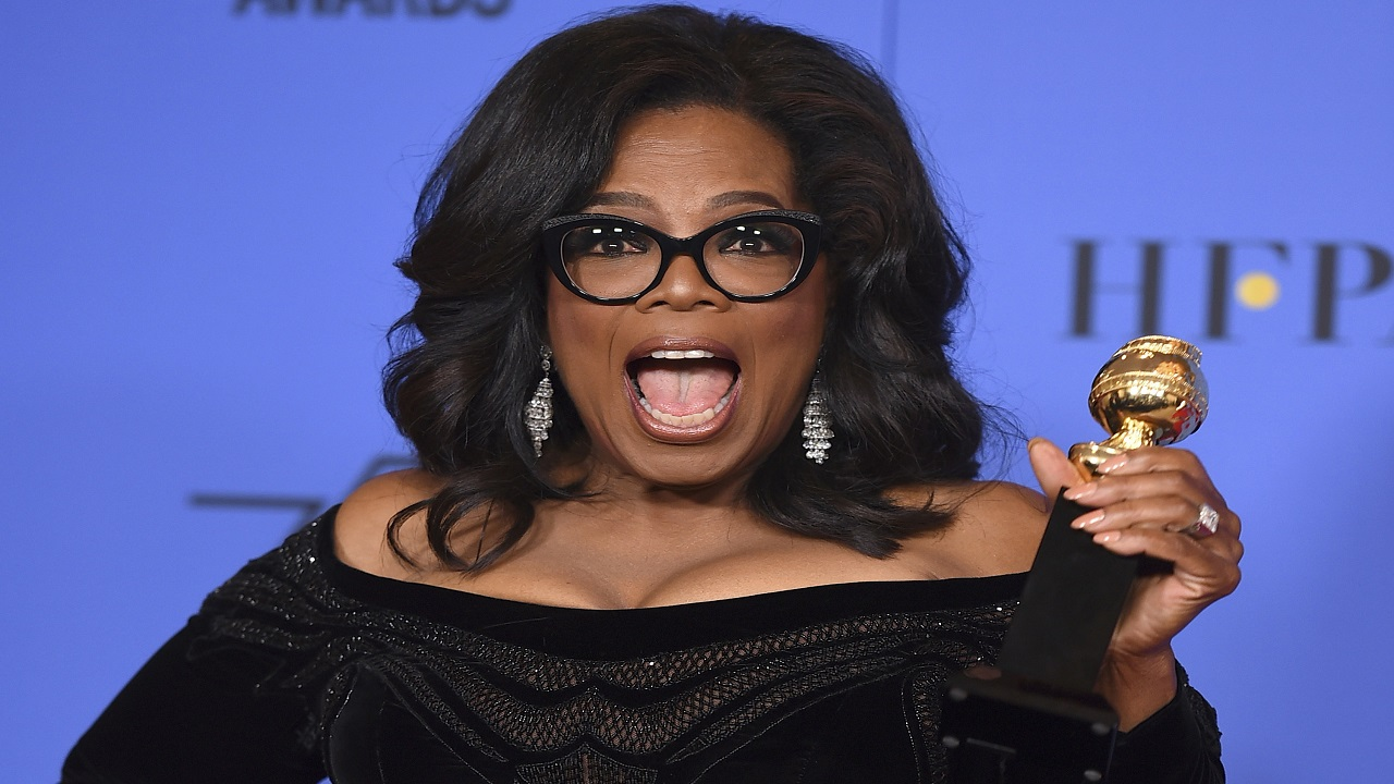 (Image: AP: Oprah pictured on 7 January 2018 at the Golden Globes)