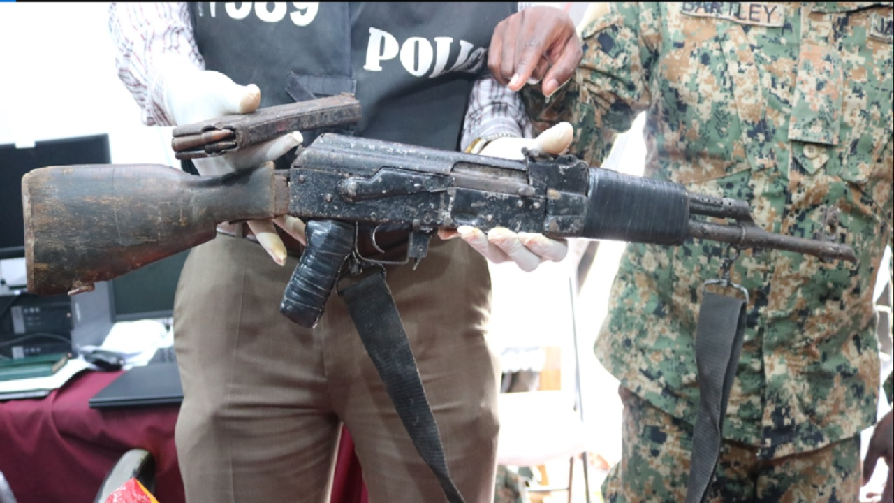 The high-powered Kalashnikov rifle and ammunition which were reported seized by the security forces in Flanker, Montego Bay, St James on Thursday.