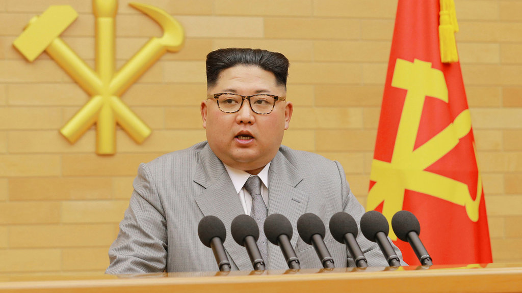 North Korean leader Kim Jong Un, speaks in his annual address in an undisclosed location. (KRT via AP Video)