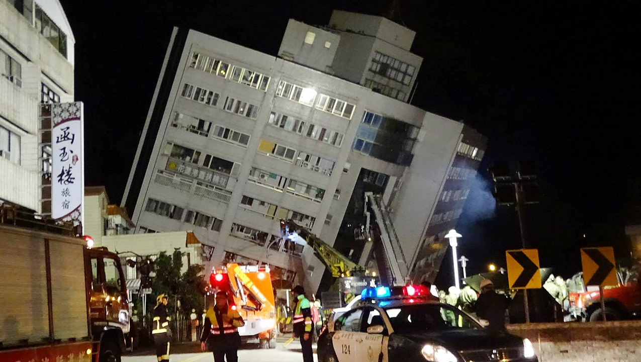 Dozens trapped as hotel collapses after Taiwan natural disaster