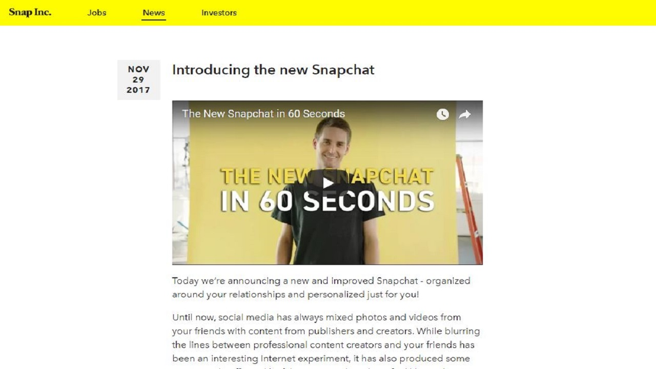 (Image: Snapchat founder Evan Spiegel announces the redesign in a 29 November 2017 video blog)