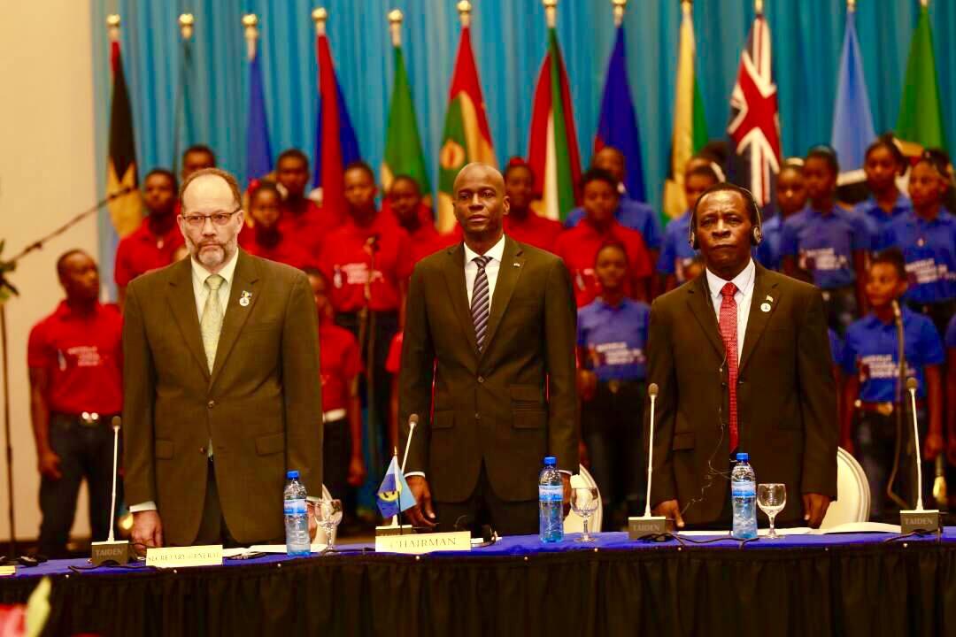 Le Président Jovenel Moise, lors de la Conférence des chefs d'État et de gouvernements de la CARICOM.