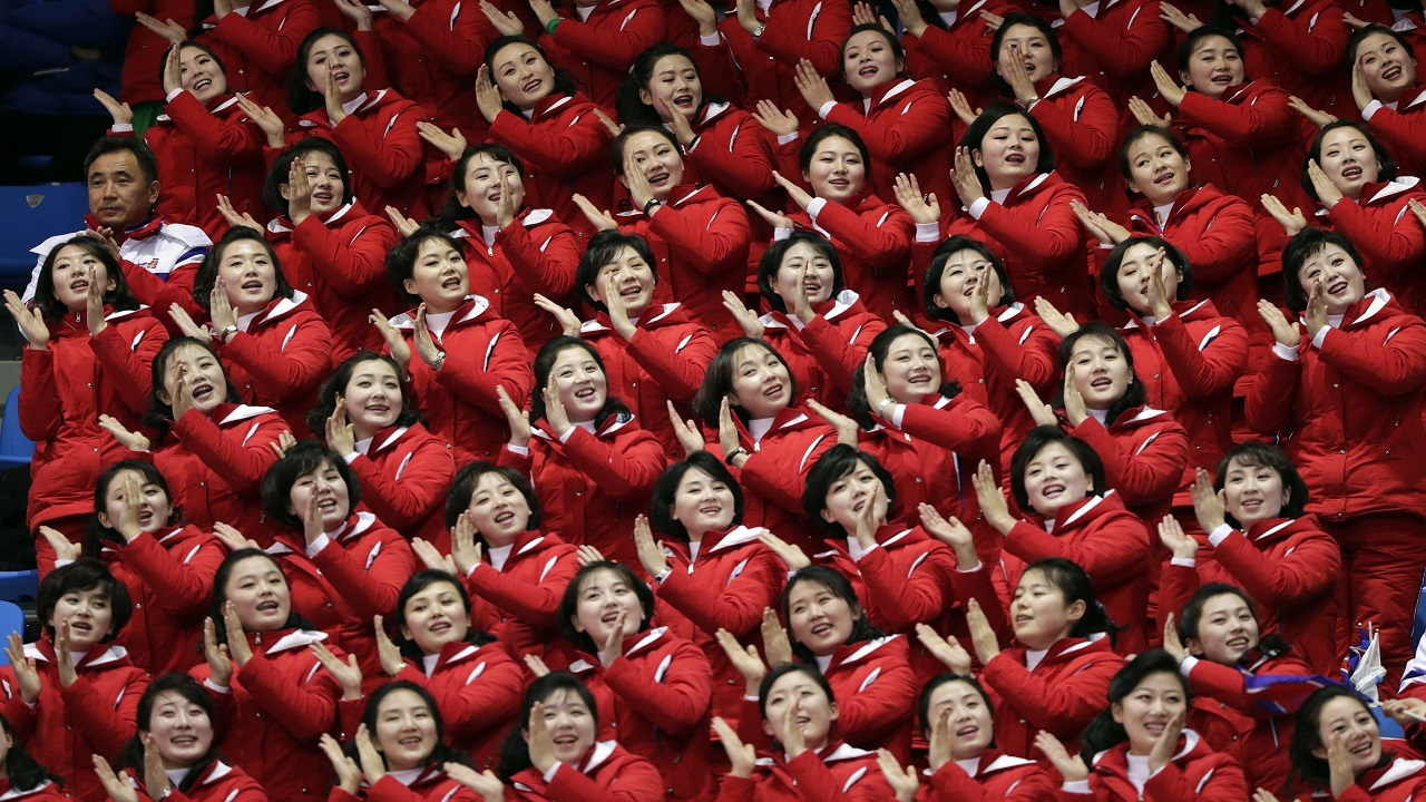 (Image: AP: North Korean cheerleaders in Pyeongchang on 10 February 2018)