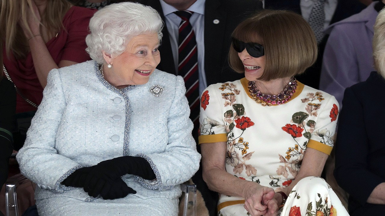 (Image: AP: Queen Elizabeth II chats with Anna Wintour at London Fashion Week)